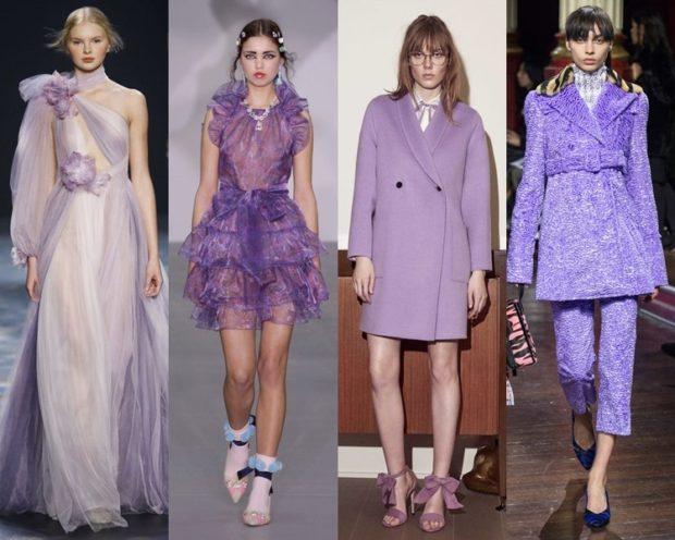 модные цвета весна 2018: лиловая одежда платья пиджаки костюмы брючные