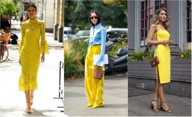 модные цвета весна 2018: желтые наряды яркие платья юбка