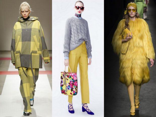 модные цвета весна 2018: желтый серый