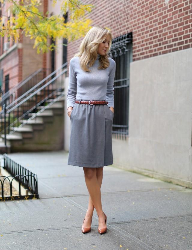 модные цвета 2918: серый цвет юбка кофта
