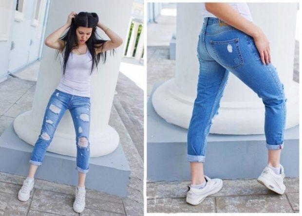 модные цвета 2018: синие потертые джинсы