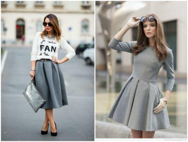 модные цвета 2018: серые лук юбки платья