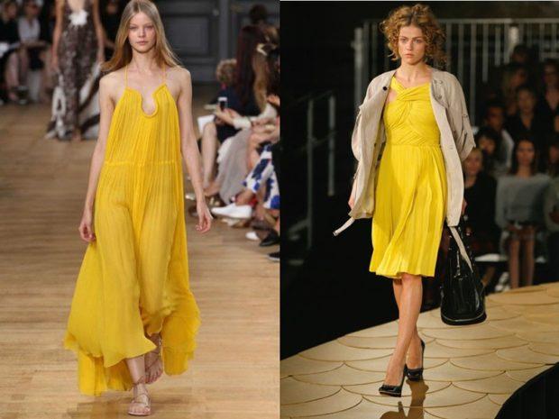 модные цвета 2018: желтые легкие наряды