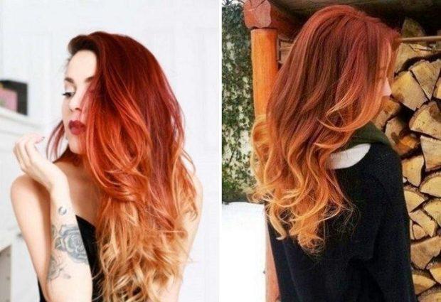 Модные цвета волос в 2018 году: омбре рыжего цвета