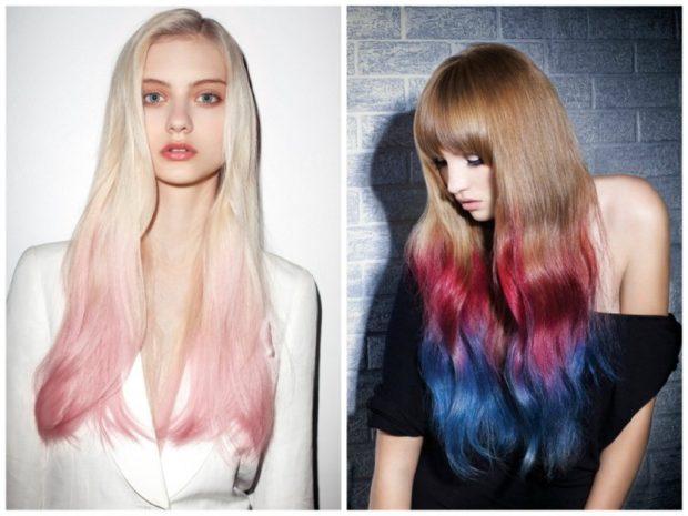 Модные цвета волос в 2018 году: волосы белые с розовым русые красно синие