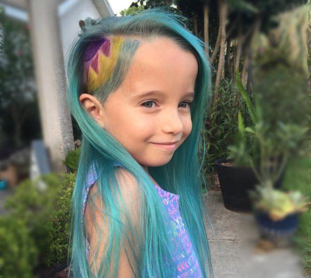 модные детские стрижки 2019-2020: окрашивание цветное голубые волосы выбрит весок