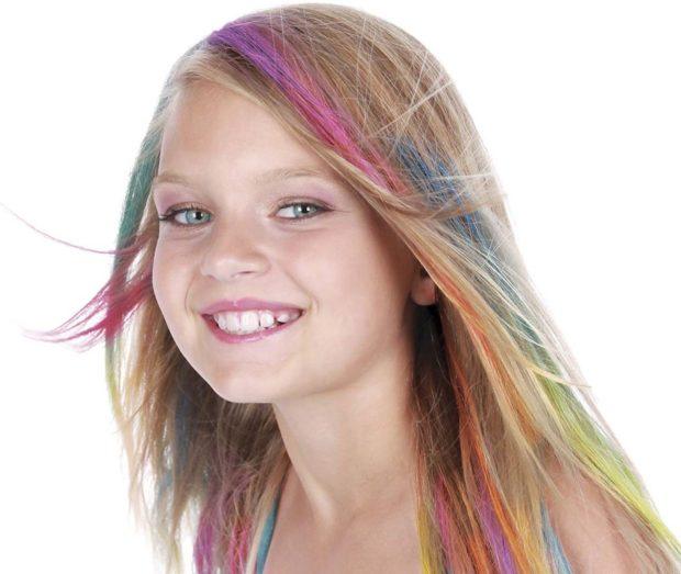 модные детские стрижки 2019-2020: окрашивание цветное на длинные волосы
