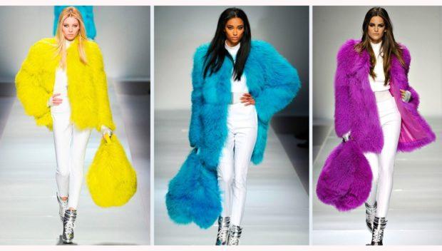 модные женские шубы 2019-2020: шубы цветные желтая синяя фиолетовая