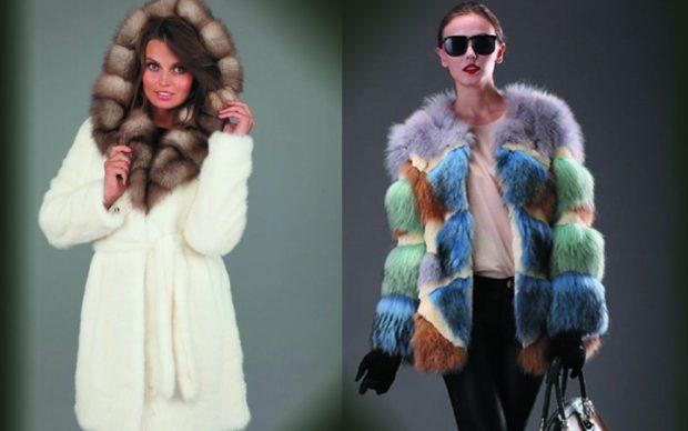 модные женские шубы 2019-2020: шуба белая с коричневым синяя с зеленым
