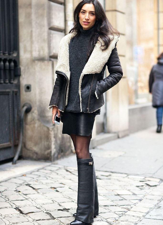 модные женские шубы 2019-2020: дубленка короткая черная