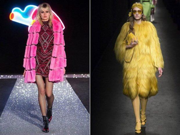 Модные женские шубы 2019-2020: шуба розовая желтая миди