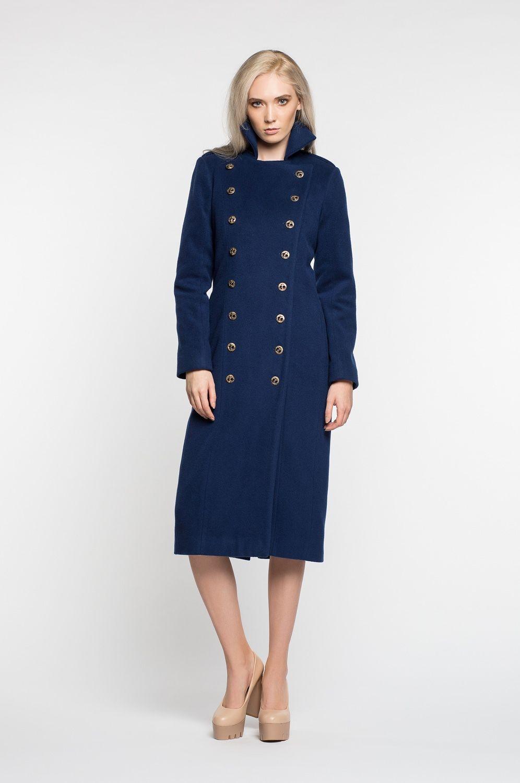 модные женские шубы 2019-2020: пальто- шинель синее