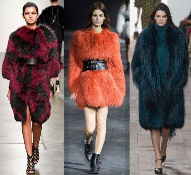Модные женские шубы 2019-2020: шуба бордо с черным оранжевая зеленая длинный мех
