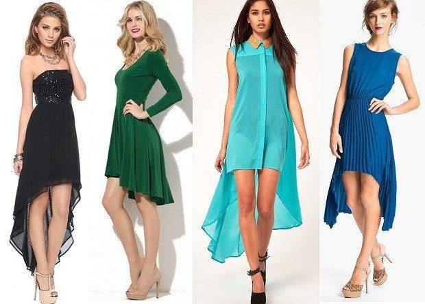 Модные женские платья Осень-201: ассиметрия черное зеленое синее голубое