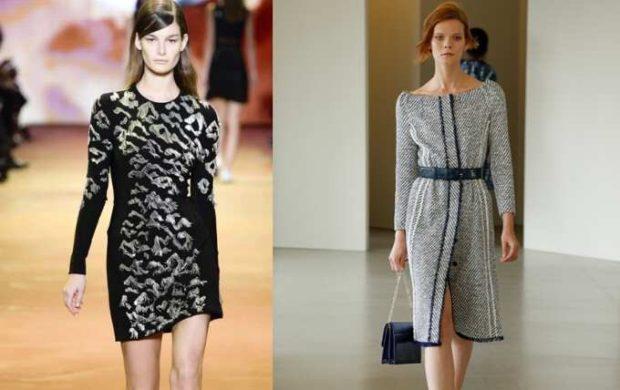 Модные женские платья Осень-2018: платье короткое черное с принтом серое открытые плечи