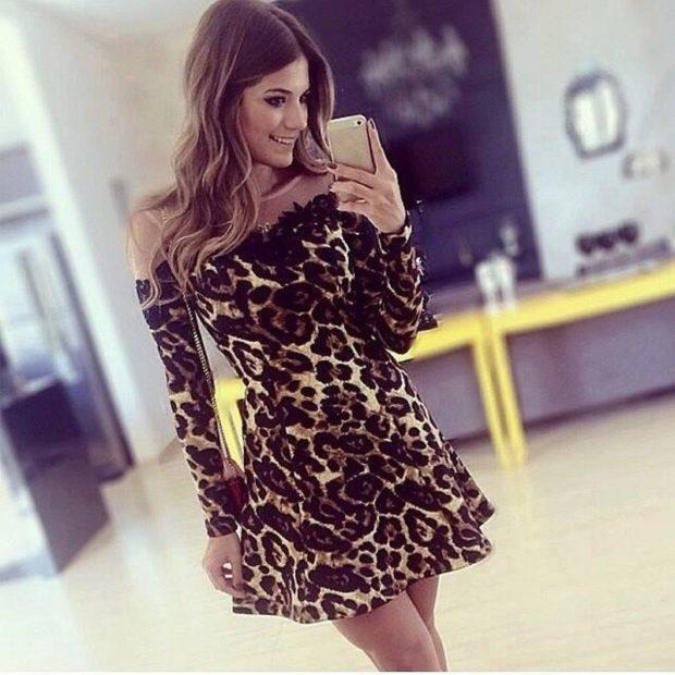 Модные женские платья Осень-2018: тигровое короткое рукав длинный