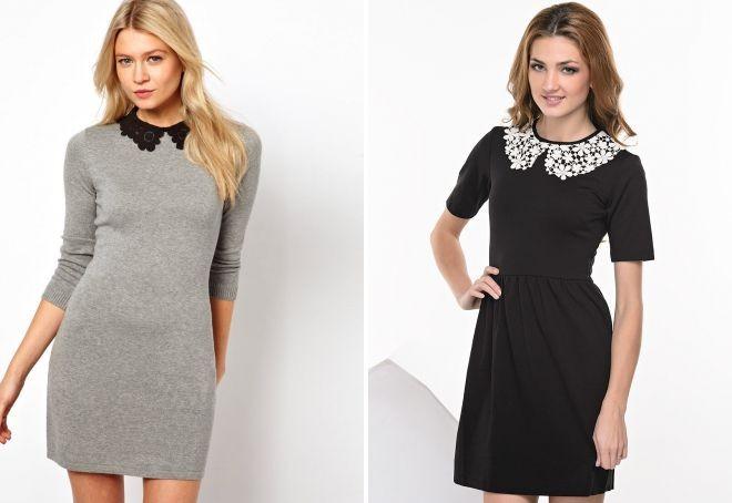 Модные женские платья Осень-2018: платье строгое серое черное с воротничком