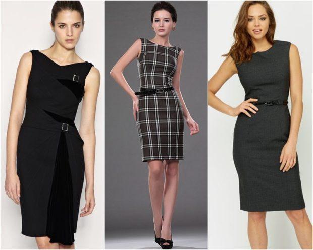 Модные женские платья Осень-2018: платье строгое черное в клетку рукав