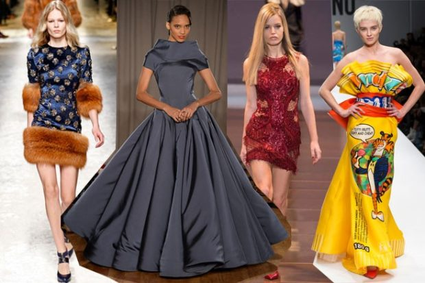 Модные женские платья Осень-2018: платье синее с мехом серое пышная юбка красное короткое желтое в рисунок