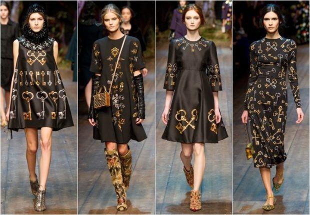 Модные женские платья Осень-2018: черное с рисунком короткое без рукава с рукавом миди