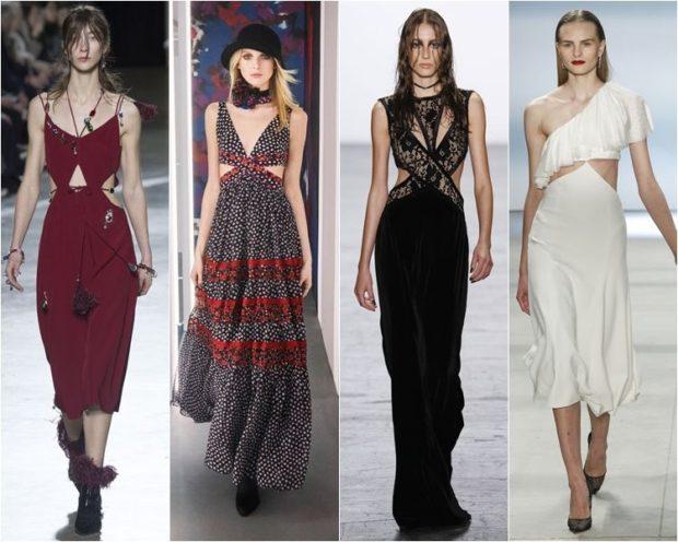 Модные женские платья Осень-2018: бордо без рукава шифоновое серое черное длинное белое одно плечо открыто миди