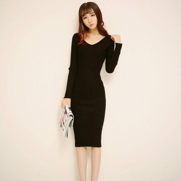 Модные женские платья Осень-2018: платье длинное черное рукав длинные