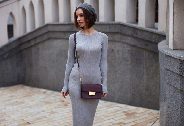 модные женские платья осень 2019: длинное серое трикотажное рукав длинный