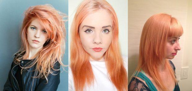 Модные женские прически 2018 года: персиковый окрас волос