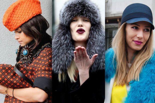 модные головные уборы 2019-2020: пилотка оранжевая шапка ушанка кепка