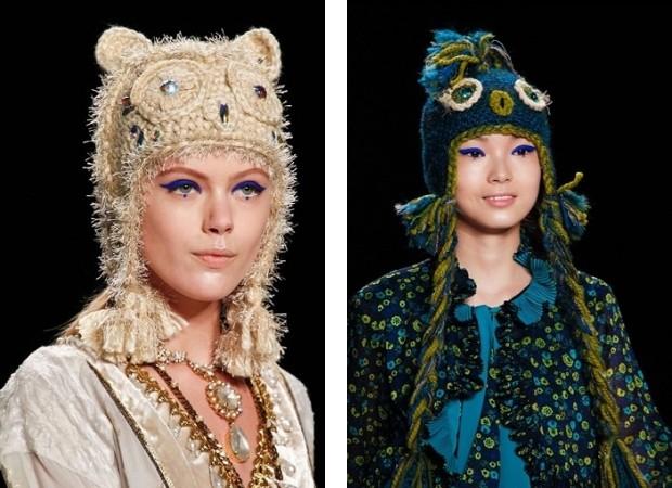модные головные уборы 2019-2020: шапки с аппликациями ушками в виде совы
