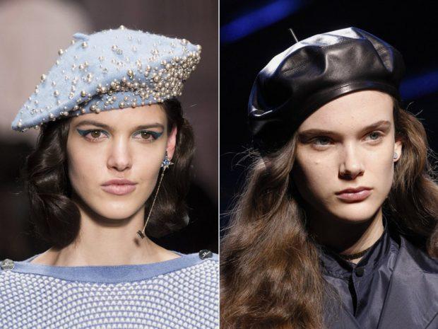 модные головные уборы 2019-2020: береты с бусинками кожаный