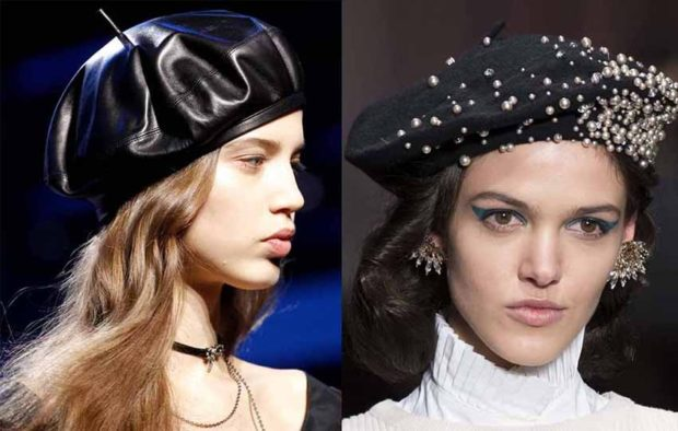 модные головные уборы 2019-2020: береты кожаный черный черный с бусинками