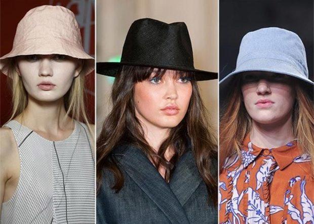 модные головные уборы 2019-2020: шляпка бежевая коричневая синяя