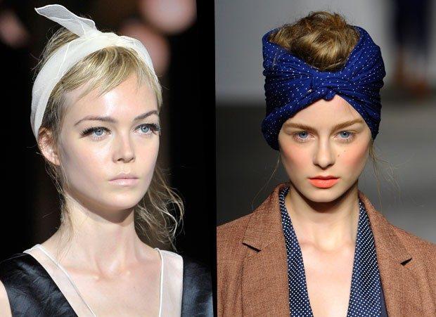 модные головные уборы 2019-2020: повязки на голову белая синяя