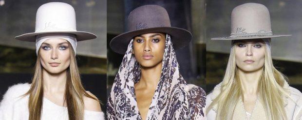 модные головные уборы 2019-2020: шляпа с полями белая черная серая
