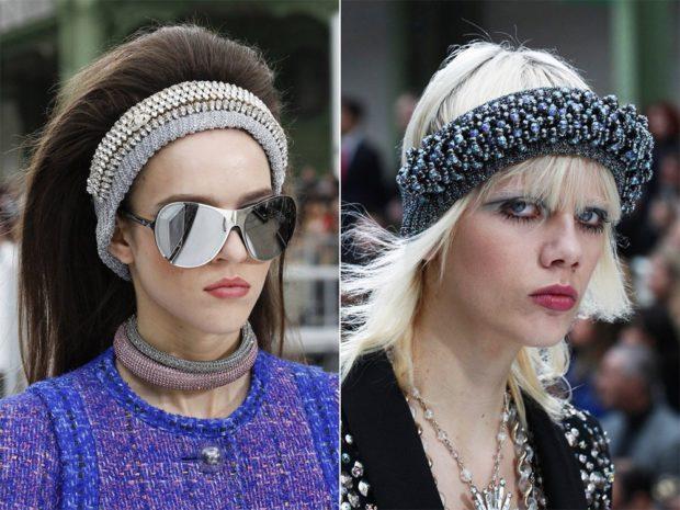 модные головные уборы 2019-2020: повязка изъясняя объемная серая