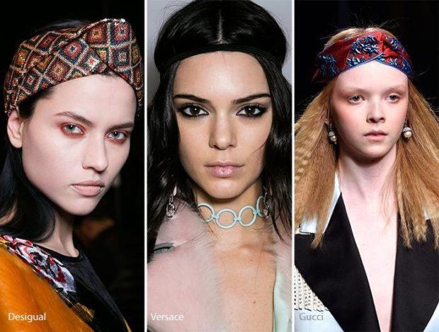 модные головные уборы 2019-2020: повязки цветные