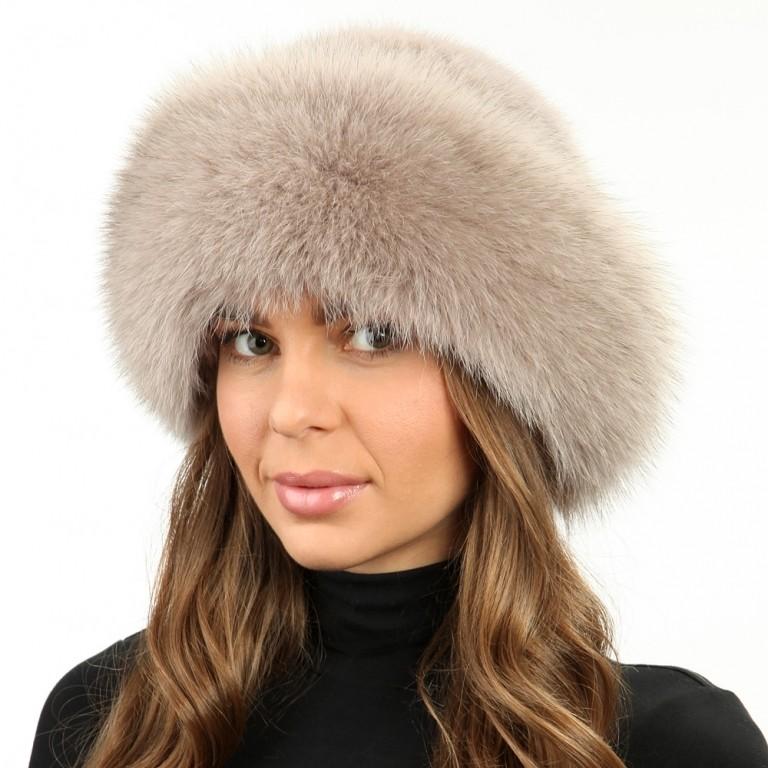 модные меховые шапки: боярка бежевая