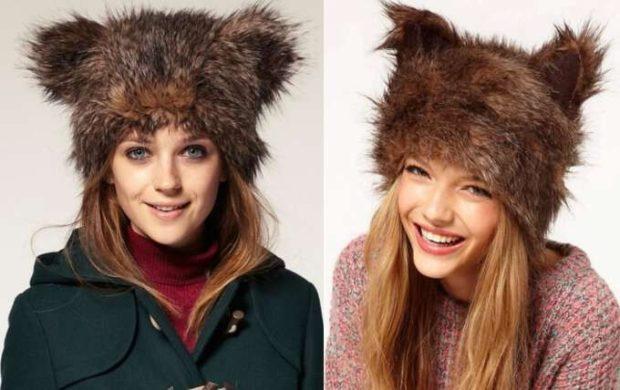 модные меховые шапки: с длинным мехом коричневые с ушками