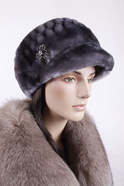 модные меховые шапки: котелок из овчины серый