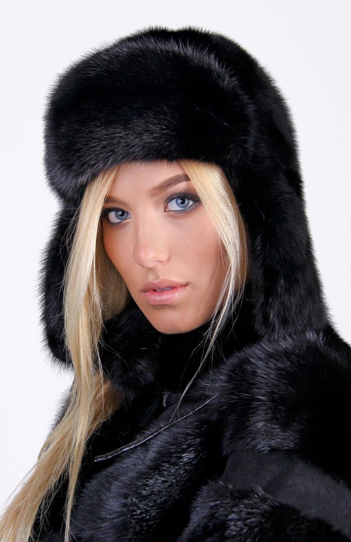 модные меховые шапки: шапка ушанка черная