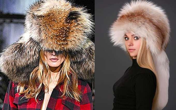 модные меховые шапки: с длинным мехом лиса