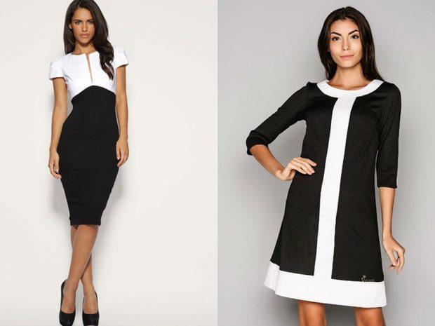 Платья 2018 фото: черное-белое миди по фигуре черно белое свободное