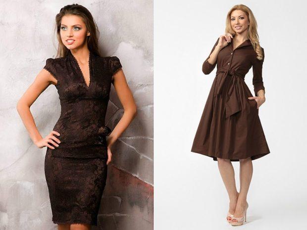Платья 2018 фото: платье коричневое по фигуре с широкой юбкой