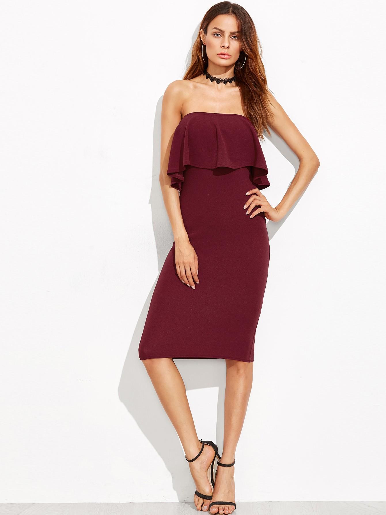 модные платья 2018: платье бюстье бордовое с воланами