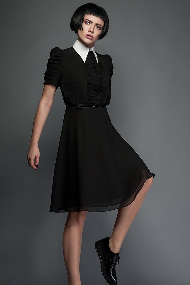 Платья 2018 фото: платье шифоновое черное с белым воротником рукав короткий