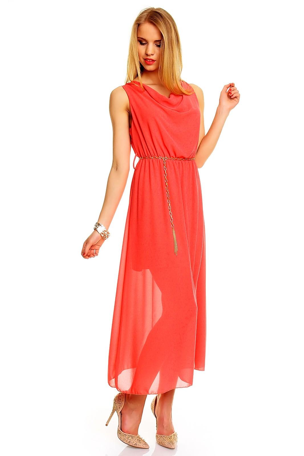 Платья 2018 фото: шифоновое платье коралловое длинное