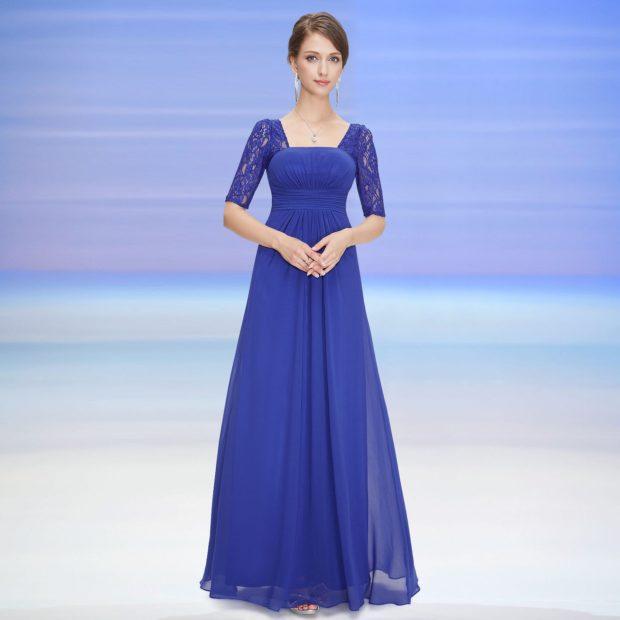 Платья 2018 фото: шифоновое платье cинее длинное