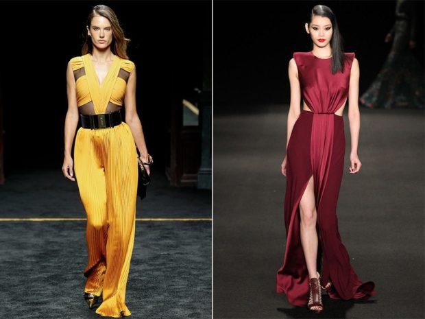модные платья 2018: платье длинное желтое красное без рукава