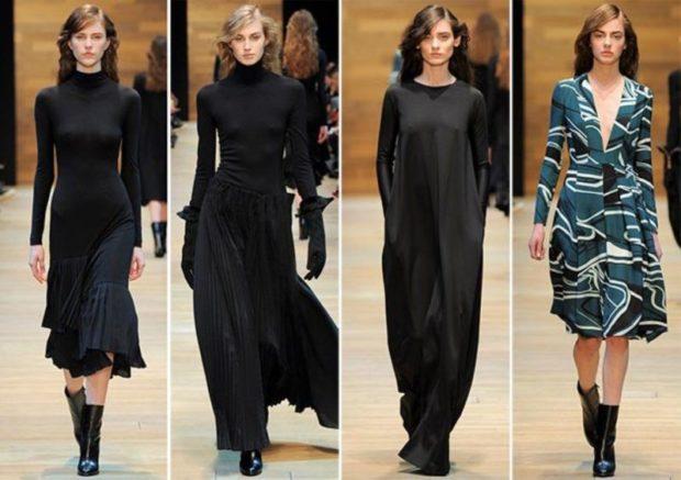 модные платья 2018: платье длинное черное рукава длинные